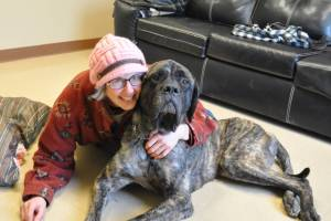 Elvis on his adoption day with his new mom!